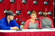 (L-R) Singer-Songwriter Nick Jonas, Deidre Pujols and Albert Pujols attend the Strike Out Slavery Press Conference at Angel Stadium on August 9, 2018 in Anaheim, California.