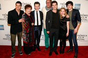 """Actors Robbie Amell, Polly Bergen, Chris Colfer, director Brian Dannelly, actors Roberto Aguire, Allie Grant and Carter Jenkins attend """"Struck By Lightning"""" Premiere during the 2012 Tribeca Film Festival at the Borough of Manhattan Community  College on April 21, 2012 in New York City."""