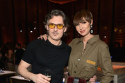 Stuart Weitzman Creative Director Giovanni Morelli (L) and Jackie Cruz attend the Stuart Weitzman FW18 Presentation and Cocktail Party at The Pool on February 8, 2018 in New York City.