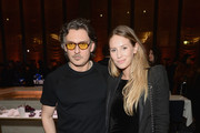 Stuart Weitzman Creative Director Giovanni Morelli (L) and Dylan Penn attend the Stuart Weitzman FW18 Presentation and Cocktail Party at The Pool on February 8, 2018 in New York City.