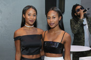 DJ's ANGEL + DREN attend the StyleWatch x Revolve Fall Fashion Party on the The High Line on August 12, 2015 in New York City.