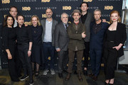 "Hiam Abbass, Matthew Macfadyen, Kieran Culkin, J. Smith-Cameron, creator Jesse Armstrong, Brian Cox, Jeremy Strong, Nicholas Braun, Alan Ruck and Sarah Snook attend the ""Succession"" FYC Event at Time Warner Center on April 17, 2019 in New York City."