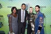 (L-R) Actors Viola Davis, Will Smith, Margot Robbie and Jared Leto attend the Suicide Squad premiere sponsored by Carrera at Beacon Theatre on August 1, 2016 in New York City.