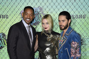 (L-R) Actors Will Smith, Margot Robbie and Jared Leto attend the Suicide Squad premiere sponsored by Carrera at Beacon Theatre on August 1, 2016 in New York City.