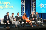 "(L-R) Executive Ben Winston, actor Felix Mallard, actor Damon Wayans Jr.,   actress Amber Stevens West, executive producer Tim McAuliffe, and executive producer Austen Earl of the television show ""Happy Together"" speak during the CBS segment of the Summer 2018 Summer Television Critics Association Press Tour at Beverly Hilton Hotel on August 5, 2018 in Beverly Hills, California."