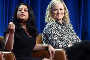 "Executive Producers Aseem Batra (L) and Amy Poehler of the television show ""I Feel Bad"" speak during the NBC segment of the Summer 2018 Television Critics Association Press Tour at the Beverly Hilton Hotel on August 8, 2018 in Beverly Hills, California."