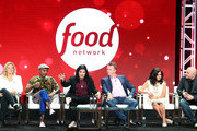 "(L-R) Amanda Freitag, Marcus Samuelsson, Alex Guamaschelli, Marc Murphy, Maneet Chauhan, Chris Santos of the television show ""Chopped"" for the Food Network speak during the Summer 2018 Television Critics Association Press Tour at the Beverly Hilton Hotel on July 26, 2018 in Beverly Hills, California."