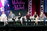 (L-R) Actors Rachel Brosnahan, Tony Shalhoub, Alex Borstein, Michael Zegen, Marin Hinkle, and Kevin Pollak of 'The Marvelous Mrs. Maisel' speak onstage during the Amazon Studios portion of the Summer 2018 TCA Press Tour at The Beverly Hilton Hotel on July 28, 2018 in Beverly Hills, California.
