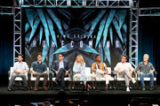 (L-R) Writer/Showrunner Eli Horowitz, Writer/Showrunner Micah Bloomberg, Director Sam Esmail, and actors Julia Roberts, Stephan James, Bobby Cannavale, and Dermot Mulroney of 'Homecoming' speak onstage during the Amazon Studios portion of the Summer 2018 TCA Press Tour at The Beverly Hilton Hotel on July 28, 2018 in Beverly Hills, California.