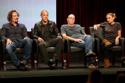 (L-R) Actors Kim Coates, Theo Rossi, Dayton Callie and Drea de Matteo speak onstage at the 'Sons of Anarchy' panel during the FX Networks portion of the 2014 Summer Television Critics Association at The Beverly Hilton Hotel on July 21, 2014 in Beverly Hills, California.