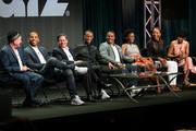 "(L-R) Executive Producers Mike O'Malley, Maverick Carter, Tom Werner, actors Jessie T. Usher, ..RonReaco Lee, Teyonah Parris, Erica Ash and Tichina Arnold  speak onstage at the ""Survivors Remorse"" panel during the Starz portion of the 2014 Summer Television Critics Association at The Beverly Hilton Hotel on July 11, 2014 in Beverly Hills, California."