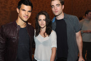 Actor Taylor Lautner, actress Kristen Stewart and actor Rob Pattinson attend the Summit Entertainment