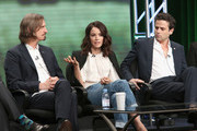 (L-R) Creator/executive producer/writer/director Ray McKinnon, actors Abigail Spencer and Luke Kirby speak onstage during the 'Rectify' panel discussion at the SundanceTV portion of the 2016 Television Critics Association Summer Tour at The Beverly Hilton Hotel on July 31, 2016 in Beverly Hills, California.