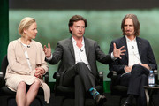 (L-R) Actors Adelaide Clemens, Aden Young and Creator/executive producer/writer/director Ray McKinnon speak onstage during the 'Rectify' panel discussion at the SundanceTV portion of the 2016 Television Critics Association Summer Tour at The Beverly Hilton Hotel on July 31, 2016 in Beverly Hills, California.