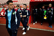 Joey Barton of Burnley (C) walks out to look at the pitch prior to the Premier League match between Sunderland and Burnley at Stadium of Light on March 18, 2017 in Sunderland, England.