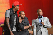 (L-R) Christian hip hop arist LeCrae (L) and host Kirk Franklin speak onstage during the Super Bowl Gospel 2013 Show at UNO Lakefront Arena on February 1, 2013 in New Orleans, Louisiana.