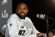 Torrey Smith #82 of the Philadelphia Eagles speaks to the media during Super Bowl LII media availability on January 30, 2018 at Mall of America in Bloomington, Minnesota. The Philadelphia Eagles will face the New England Patriots in Super Bowl LII on February 4th.