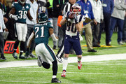 Danny Amendola #80 of the New England Patriots catches a pass against Patrick Robinson #21 of the Philadelphia Eagles during the first quarter in Super Bowl LII at U.S. Bank Stadium on February 4, 2018 in Minneapolis, Minnesota.
