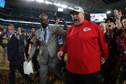 Head coach Andy Reid of the Kansas City Chiefs reacts after defeating San Francisco 49ers by 31 - 20  in Super Bowl LIV at Hard Rock Stadium on February 02, 2020 in Miami, Florida.