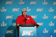 Head coach Andy Reid of the Kansas City Chiefs  talks to press after defeating San Francisco 49ers by 31 - 20 in Super Bowl LIV at Hard Rock Stadium on February 02, 2020 in Miami, Florida.