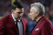 Tom Brady of the New England Patriots talks with Hall of Famer Joe Montana prior to Super Bowl LIV between the San Francisco 49ers and the Kansas City Chiefs at Hard Rock Stadium on February 02, 2020 in Miami, Florida.