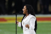 Singer Demi Lovato performs the national anthem prior to Super Bowl LIV between the San Francisco 49ers and the Kansas City Chiefs at Hard Rock Stadium on February 02, 2020 in Miami, Florida.
