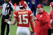 Head coach Andy Reid of the Kansas City Chiefs talks to Patrick Mahomes #15 of the Kansas City Chiefs during the fourth quarter in Super Bowl LIV against the San Francisco 49ers at Hard Rock Stadium on February 02, 2020 in Miami, Florida.