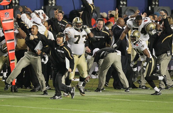 Head coach Sean Payton of the New Orleans Saints reacts to Tracy Porter's interception of Peyton Manning of the Indianapolis Colts for a touchdown in the fourth quarter during Super Bowl XLIV on February 7, 2010 at Sun Life Stadium in Miami Gardens, Florida.