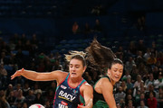 Liz Watson of the Vixens and Verity Charles of the Fever contest for the ball during the round 13 Super Netball match between the Fever and the Vixens at Perth Arena on July 28, 2018 in Perth, Australia.