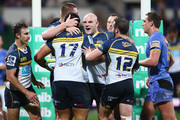 (L-R) Nic White, Rory Arnold, Stephen Moore and Robbie Coleman of the Brumbies is congratulate Allan Alaalatoa of the Brumbies after he scored a try during the round 17 Super Rugby match between the Western Force and the Brumbies at nib Stadium on June 5, 2015 in Perth, Australia.