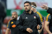 Chiefs Liam Messam looks on prior to the round 18 Super Rugby match between the Chiefs and the Brumbies at FMG Stadium Waikato on July 7, 2018 in Hamilton, New Zealand.