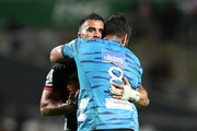 Akira Ioane of the Blues and Liam Messam of the Chiefs imbrace after the round eight Super Rugby match between the Chiefs and the Blues at Waikato Stadium on April 7, 2018 in Hamilton, New Zealand.