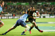 Liam Messam of the Chiefs is tackled during the round eight Super Rugby match between the Chiefs and the Blues at Waikato Stadium on April 7, 2018 in Hamilton, New Zealand.