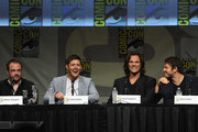 "(L-R) Actors Mark A. Sheppard, Jensen Ackles, Jared Padalecki and Misha Collins speak at ""Supernatural"" Panel during Comic-Con International 2012  at San Diego Convention Center on July 15, 2012 in San Diego, California."