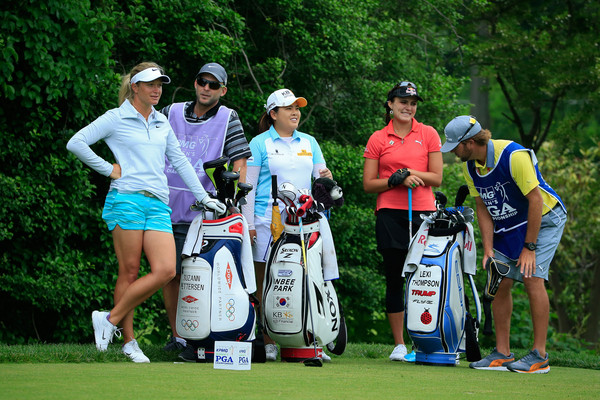 KPMG Women's PGA Championship - Round One [golfer,golf,sports equipment,sports,professional golfer,golf equipment,recreation,outdoor recreation,competition event,iron,kpmg womens,suzann pettersen,laugh,tee box,l-r,inbee park,norway,round,pga championship,round]