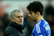 Jose Mourinho the Chelsea Manager subsitutes Diego Costa during the Barclays Premier League match between Swansea City and Chelsea at the Liberty Stadium on January 17, 2015 in Swansea, Wales.