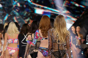 Models walk the runway wearing Swarovski in the 2018 Victoria's Secret Fashion Show at Pier 94 on November 8, 2018 in New York City.