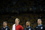 (L-R) Steven Gerrard, Joe Hart, Glen Johnson Andy Carroll of England line up during the UEFA EURO 2012 group D match between Sweden and England at The Olympic Stadium on June 15, 2012 in Kiev, Ukraine.