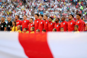 England lines up during the 2018 FIFA World Cup Russia Quarter Final match between Sweden and England at Samara Arena on July 7, 2018 in Samara, Russia.