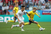Emil Forsberg of Sweden is tackled by Yong Lee of Korea Republic during the 2018 FIFA World Cup Russia group F match between Sweden and Korea Republic at Nizhniy Novgorod Stadium on June 18, 2018 in Nizhniy Novgorod, Russia.