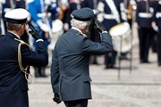 King Carl XVI Gustaf of Sweden salutes at a celebration of his 73rd birthday anniversary at the Royal Palace  on April 30, 2019 in Stockholm, Sweden.