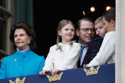 Queen Silvia of Sweden, Princess Estelle, Duchess of Ostergotland, Prince Daniel, Duke of Vastergotland, Prince Oscar, Duke of Skane and Crown Princess Victoria of Sweden attend a celebration of King Carl Gustav's 72nd birthday anniversary at the Royal Palace on April 30, 2018 in Stockholm, Sweden.