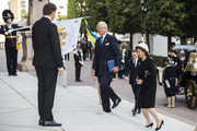 King Carl XVI Gustaf of Sweden and Queen Silvia of Sweden arrive at the Swedish Parliament House for the opening of the new parliamentary session on September 10, 2019 in Stockholm, Sweden.