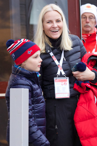 Princess Ingrid Alexandra of Norway and Crown Princess Mette-Marit of Norway attend the FIS Nordic World Ski Championships on February 27, 2015 in Falun, Sweden.