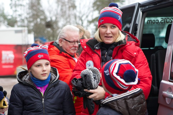 Princess Ingrid Alexandra of Norway, Crown Princess Mette-Marit of Norway and Prince Sverre Magnus of Norway attend the FIS Nordic World Ski Championships on February 27, 2015 in Falun, Sweden.
