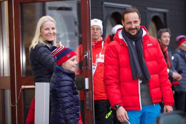 Crown Princess Mette-Marit of Norway, Princess Ingrid Alexandra of Norway and Crown Prince Haakon of Norway attend the FIS Nordic World Ski Championships on February 27, 2015 in Falun, Sweden.
