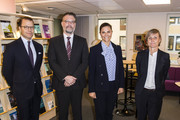 Crown Princess Victoria of Sweden and Prince Daniel of Sweden visit the Crime Prevention Council and are greeted by Bjorn Borschos and Anna Westphalen on November 14, 2019 in Stockholm, Sweden.