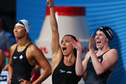 Natalie Coughlin (2L) and Missy Franklin (R) of the USA ceelbrate after the Swimming Women's4x100mFreestyle on day nine of the 15th FINA World Championships at Palau Sant Jordi on July 28, 2013 in Barcelona, Spain.