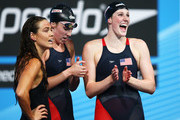 (L-R) Natalie Coughlin, Shannon Vreeland and Missy Franklin of the USA celebrate after the Swimming Women's4x100mFreestyle on day nine of the 15th FINA World Championships at Palau Sant Jordi on July 28, 2013 in Barcelona, Spain.