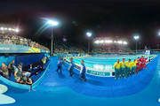 Image was created as an Equirectangular Panorama. Import image into a panoramic player to create an interactive 360 degree view.) Gold medalists Cameron Mcevoy, James Magnussen, Jack Cartwright and Kyle Chalmers of Australia pose during the medal ceremony for the Men's 4 x 100m Freestyle Relay Final on day two of the Gold Coast 2018 Commonwealth Games at Optus Aquatic Centre on April 6, 2018 on the Gold Coast, Australia.